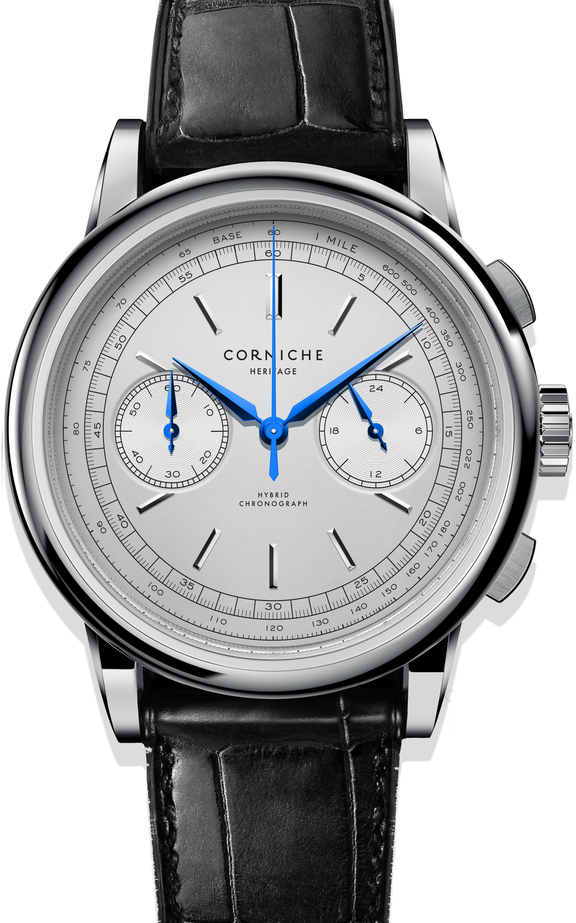 Image of   Corniche Heritage Chronograph Steel with White dial