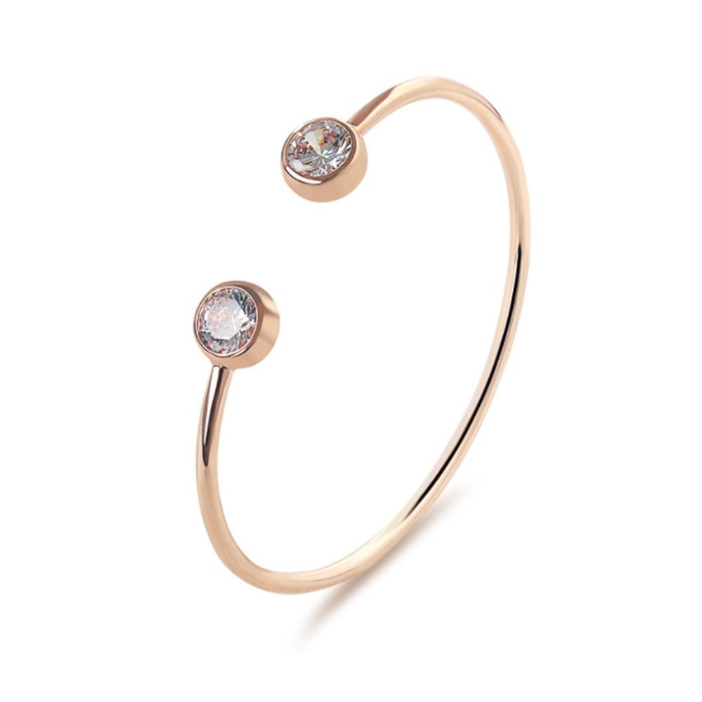 Image of   Elegant armbånd i rosa guld med sten