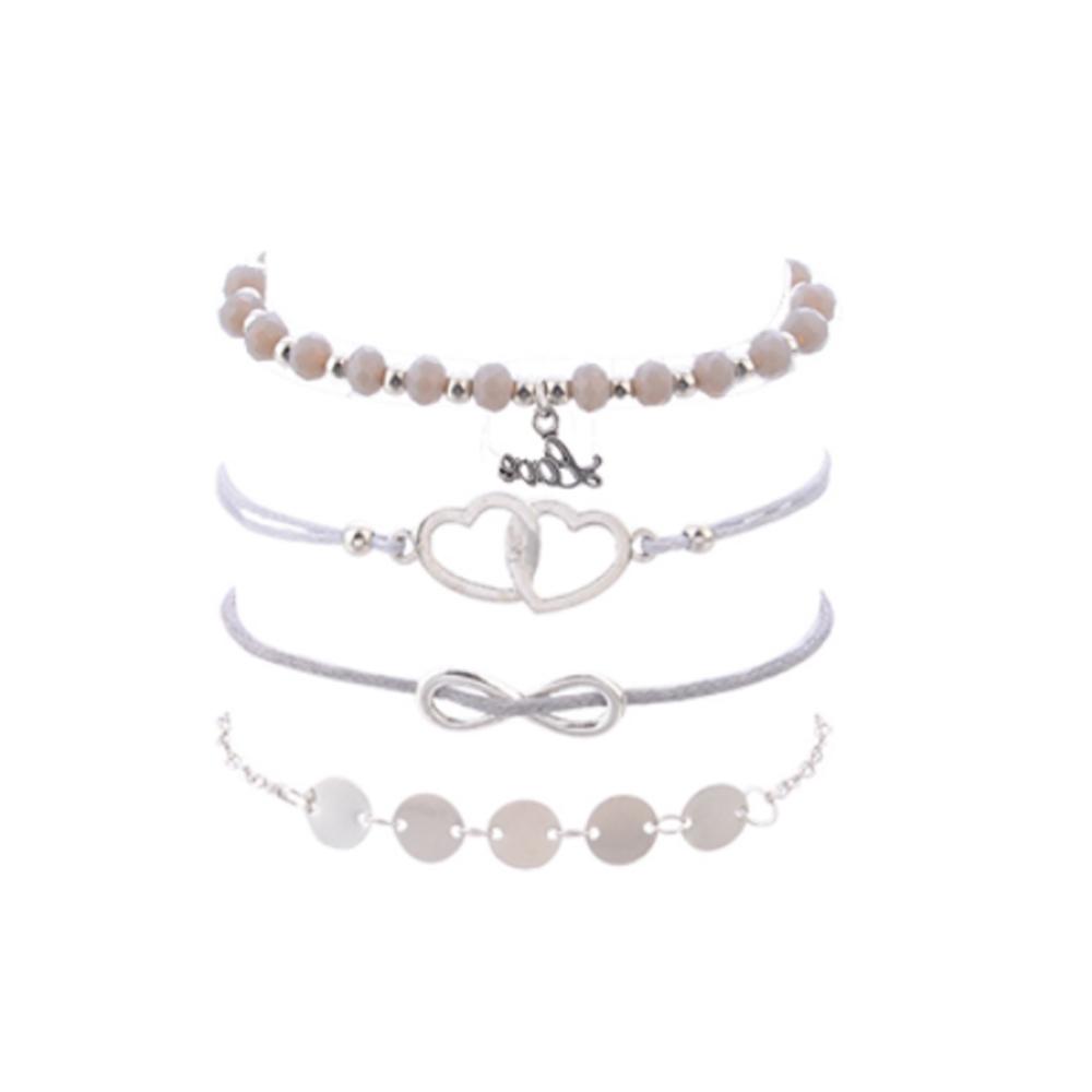 Image of   Helt sæt med 4 sølv armbånd