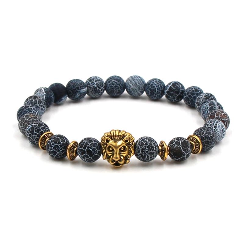 Image of   Armbånd alabast blå natursten og løvehoved