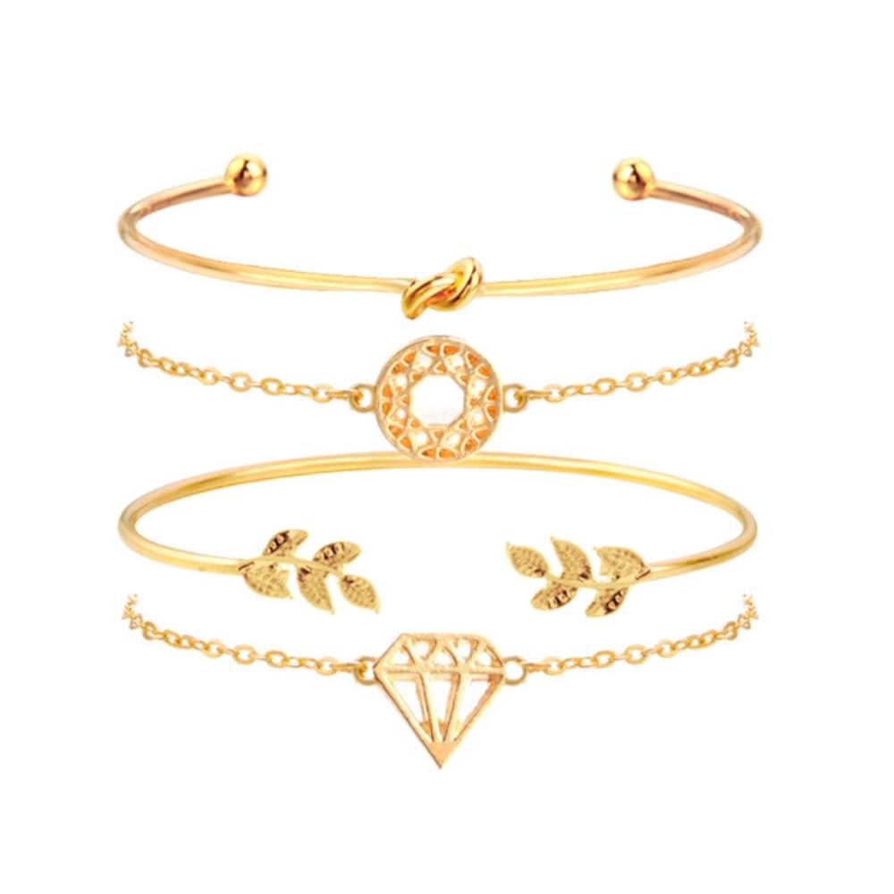 Image of   Helt sæt med 4 guld armbånd