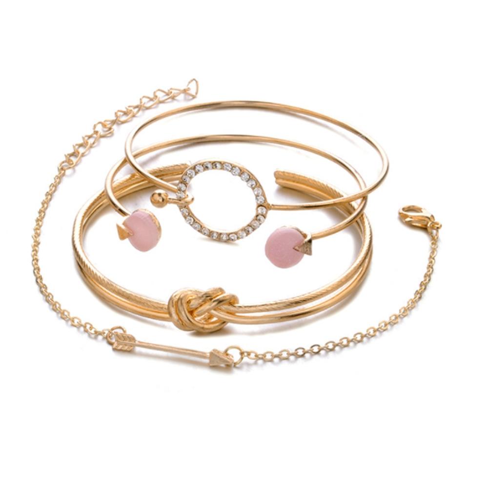 Image of   Helt sæt med 4 rosaguld armbånd
