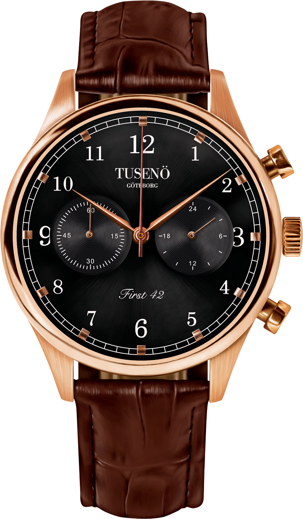 Image of   Tusenö FIRST 42 ROSE GOLD/BLACK BROWN Alligator STRAP
