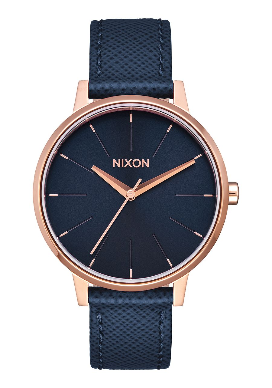 Nixon Kensington Leather Navy/Rose Gold