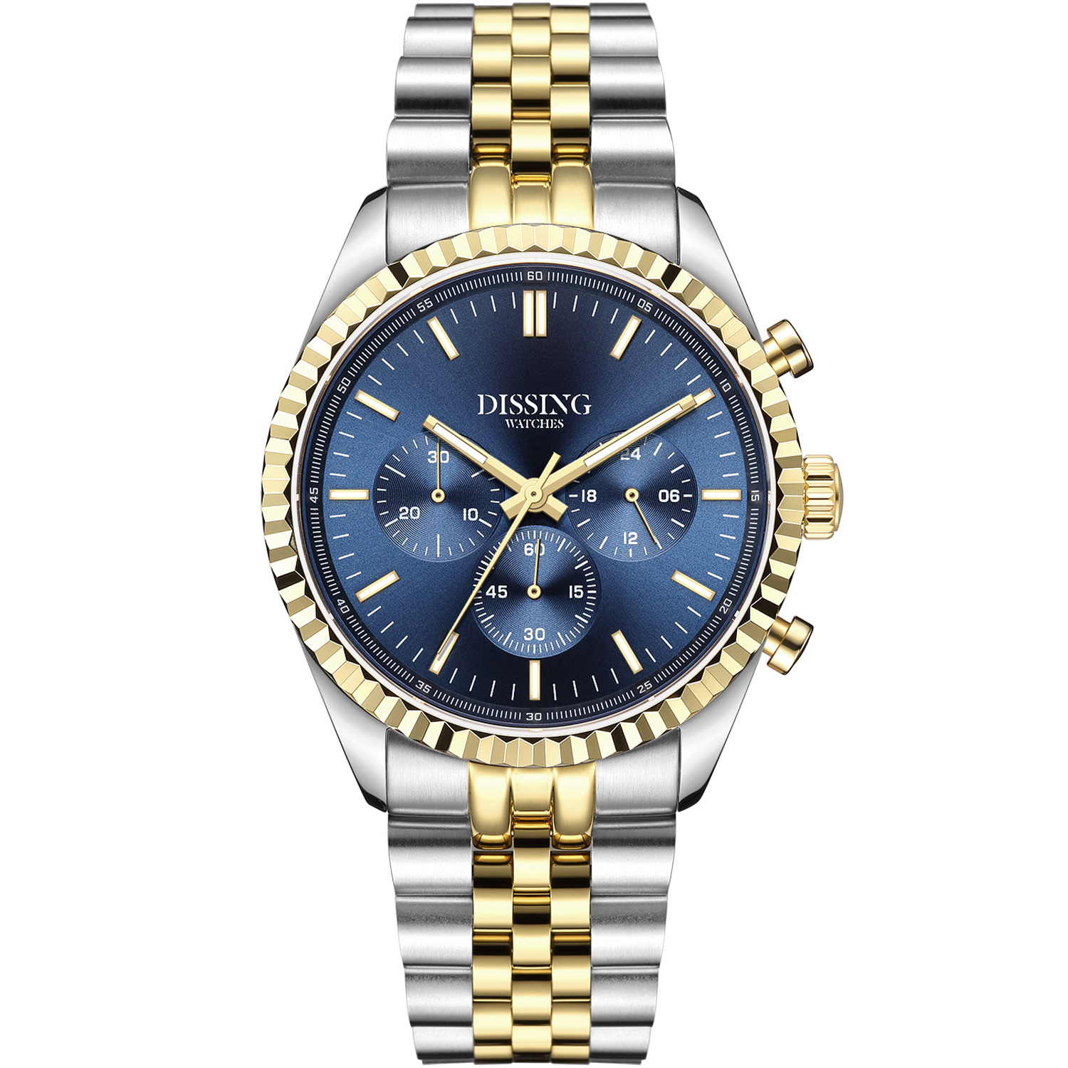 Køb Dissing Date Chrono Blue Steel Gold