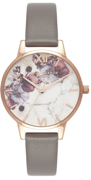 Image of   Olivia Burton Marble Floral London Grey & Rose Gold