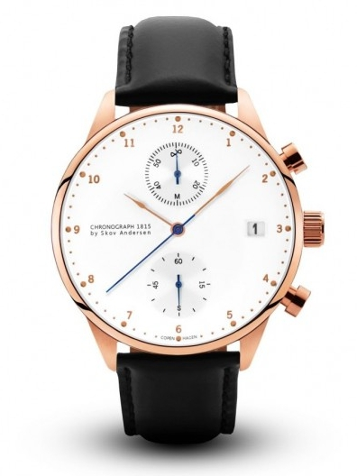 Image of   About Vintage 1815 Rose Gold Chronograph Black Strap