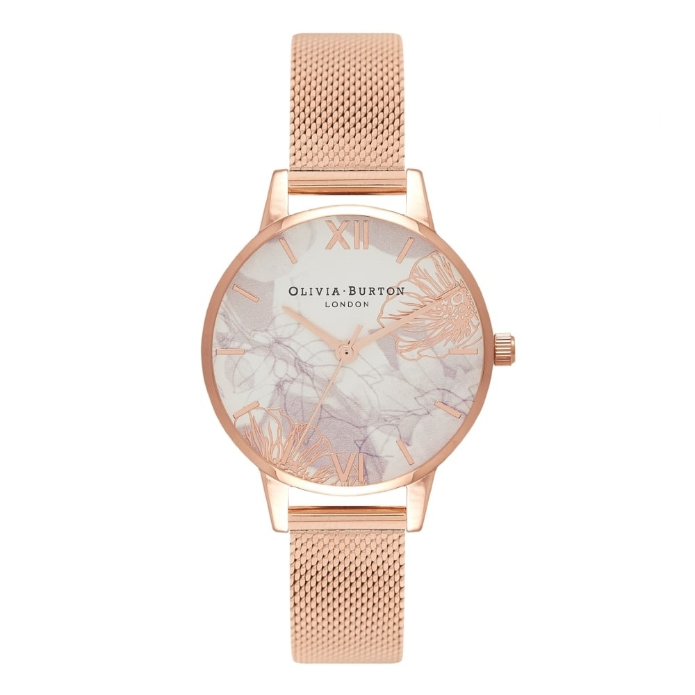 Image of   Olivia Burton Midi Abstract Floral Rose Gold Mesh