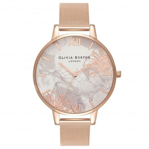 Olivia Burton Abstract Floral Rose Gold Mesh