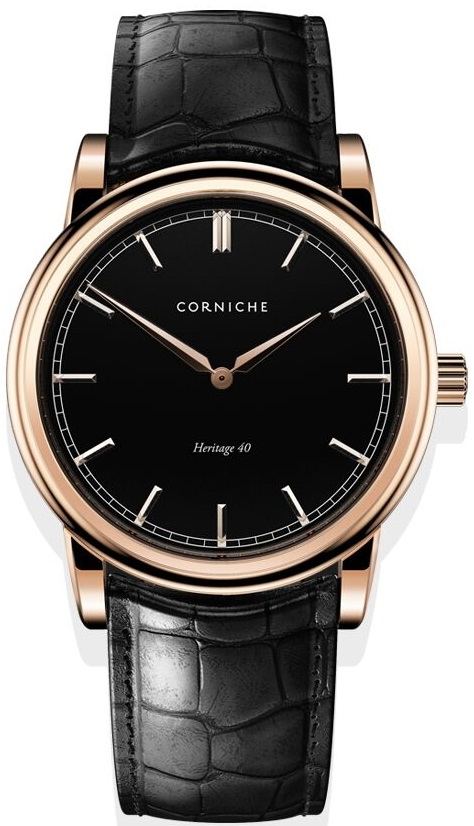 Image of   Corniche Men's Heritage 40 Rose Gold with Black Dial