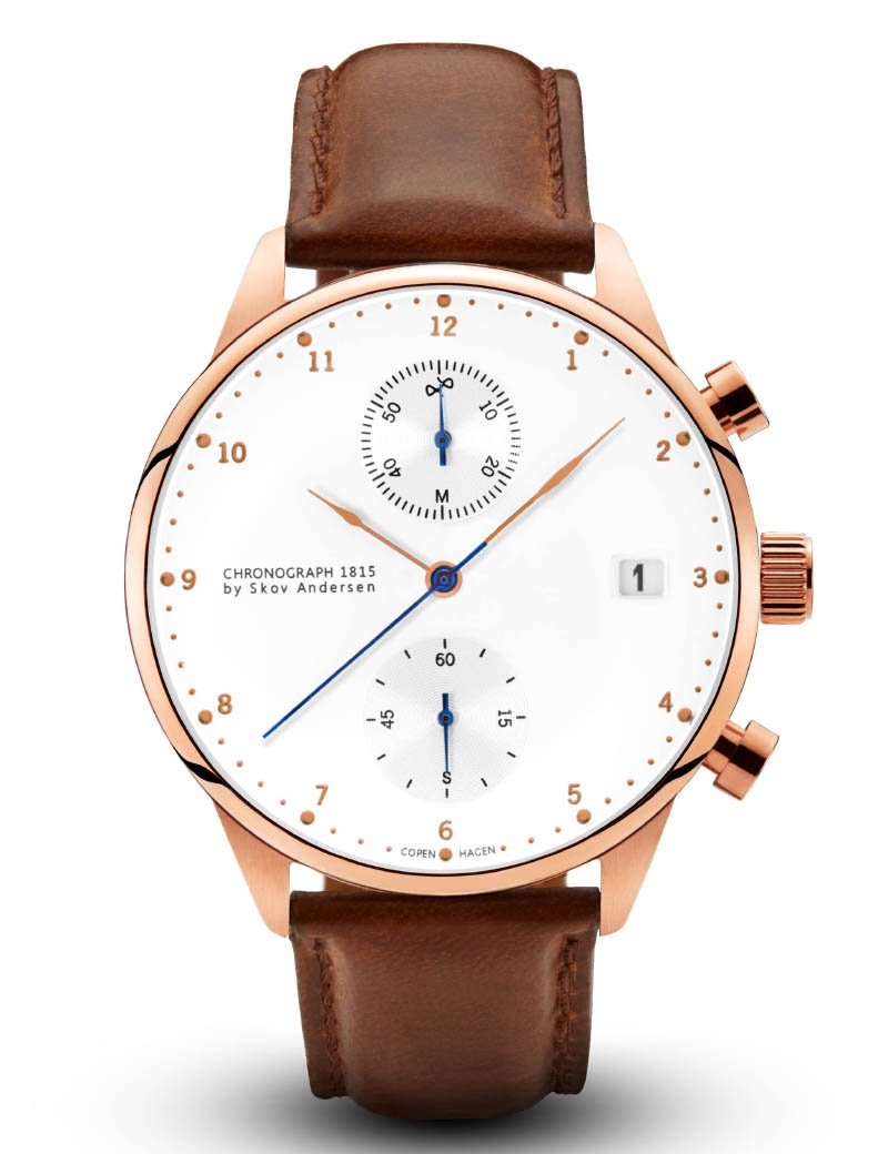 Image of   About Vintage 1815 Rose Gold Chronograph Brown Strap