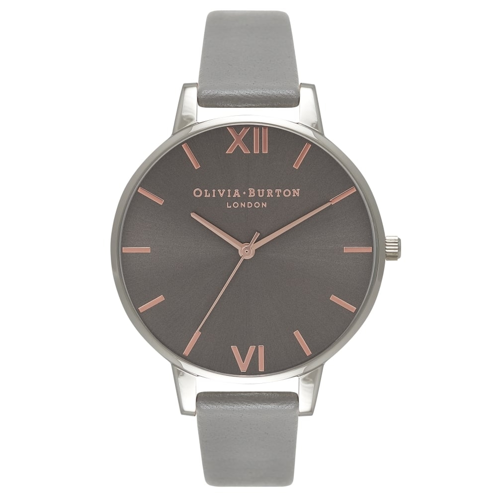 Image of   Olivia Burton Big Dial Dark Grey & Rose Gold