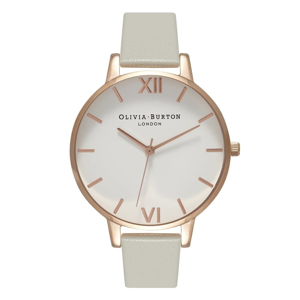 Image of   Olivia Burton Big Dial Grey & Rose Gold