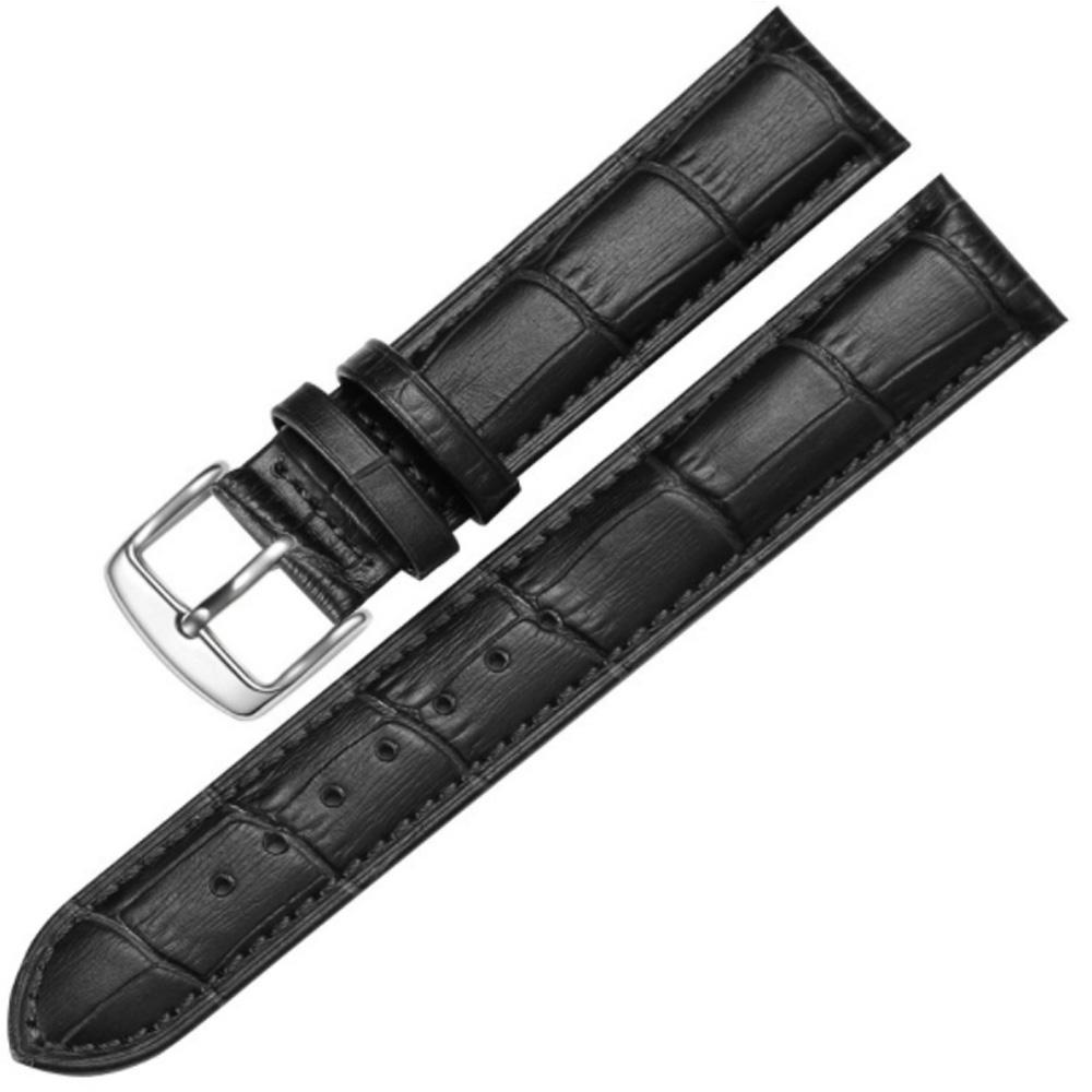 Image of   Sort urrem i læder 20 mm. med stål spænde