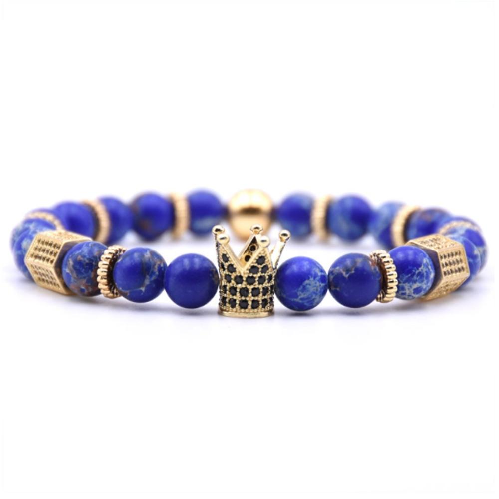 Image of   Blå sten armbånd med guld detaljer