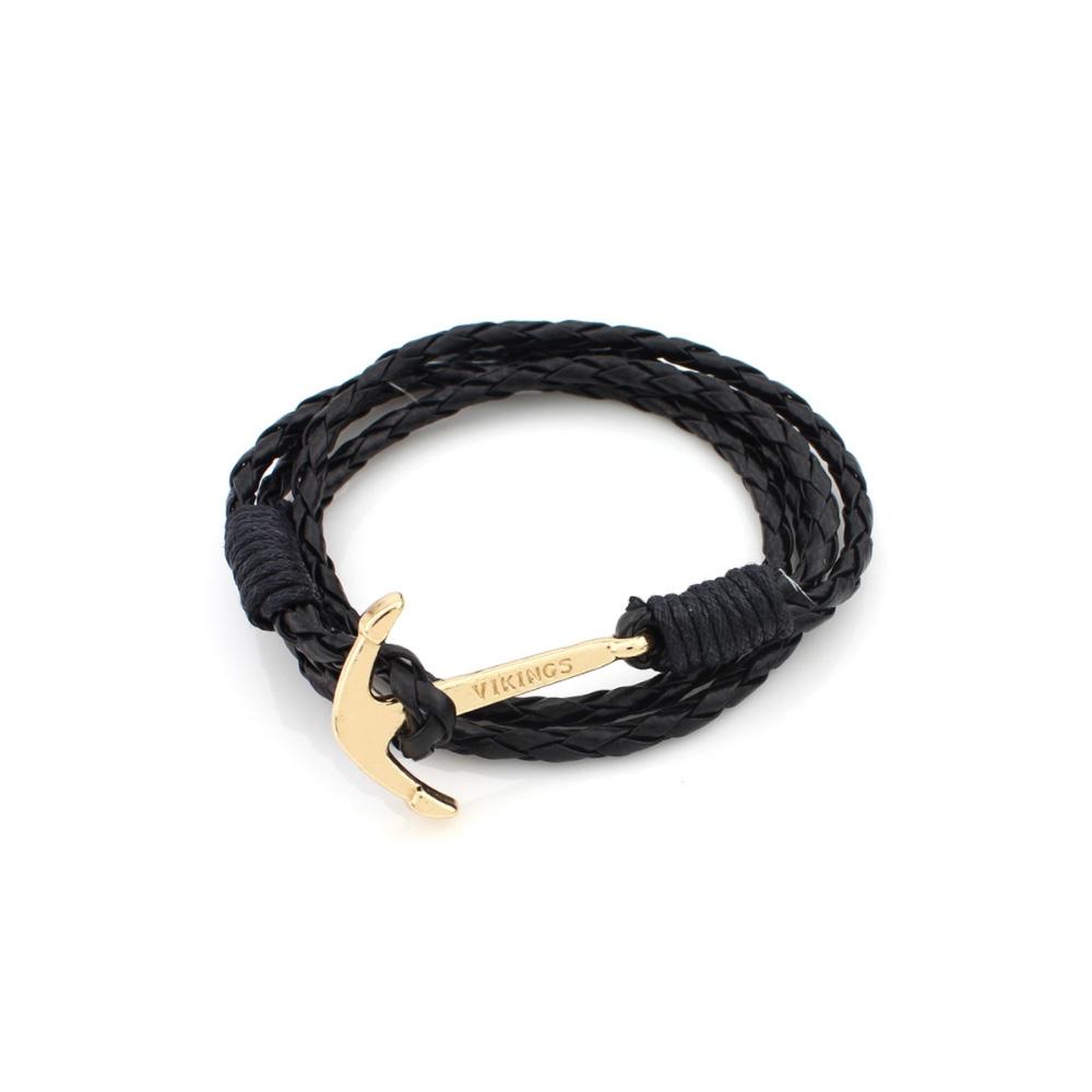 Image of   Sort læder anker armbånd