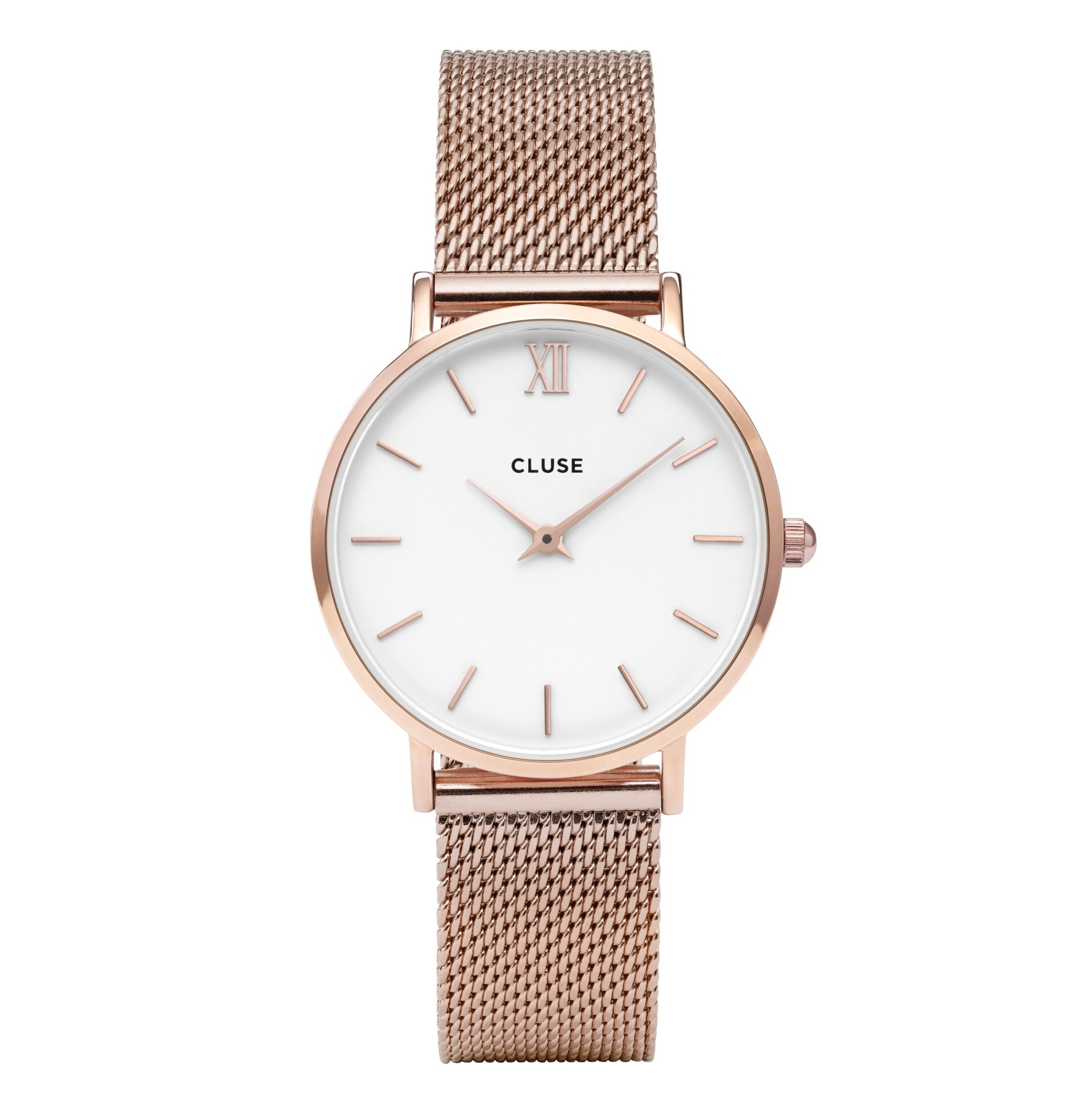 Image of   Cluse Minuit Mesh Rose Gold/White