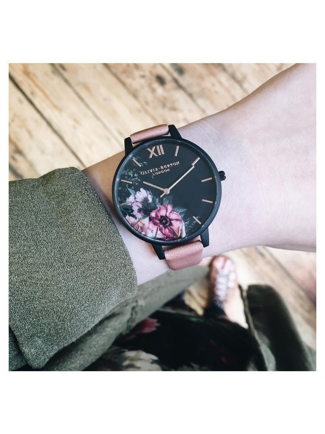 Olivia Burton After Dark Floral Black Dial and Rose Floral-38