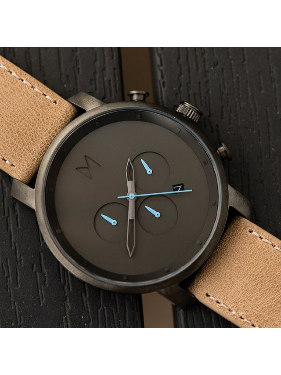MVMT Chrono Gunmetal/Sandstone Leather-00