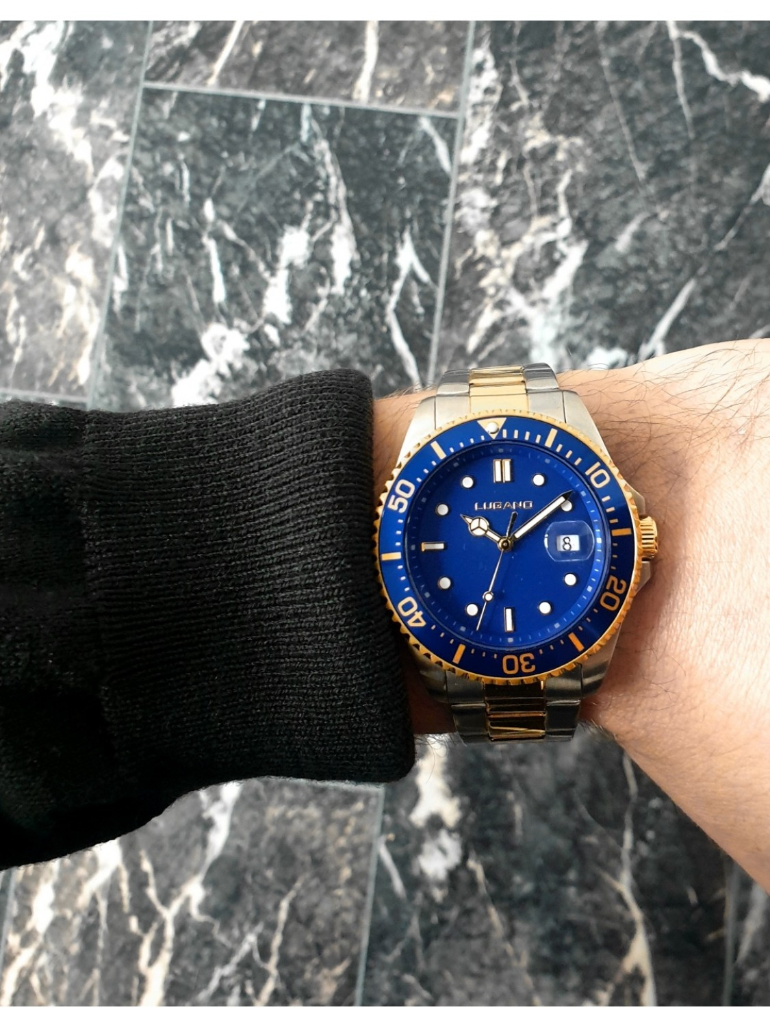 Lugano Diver Steel/Gold/Blue-029