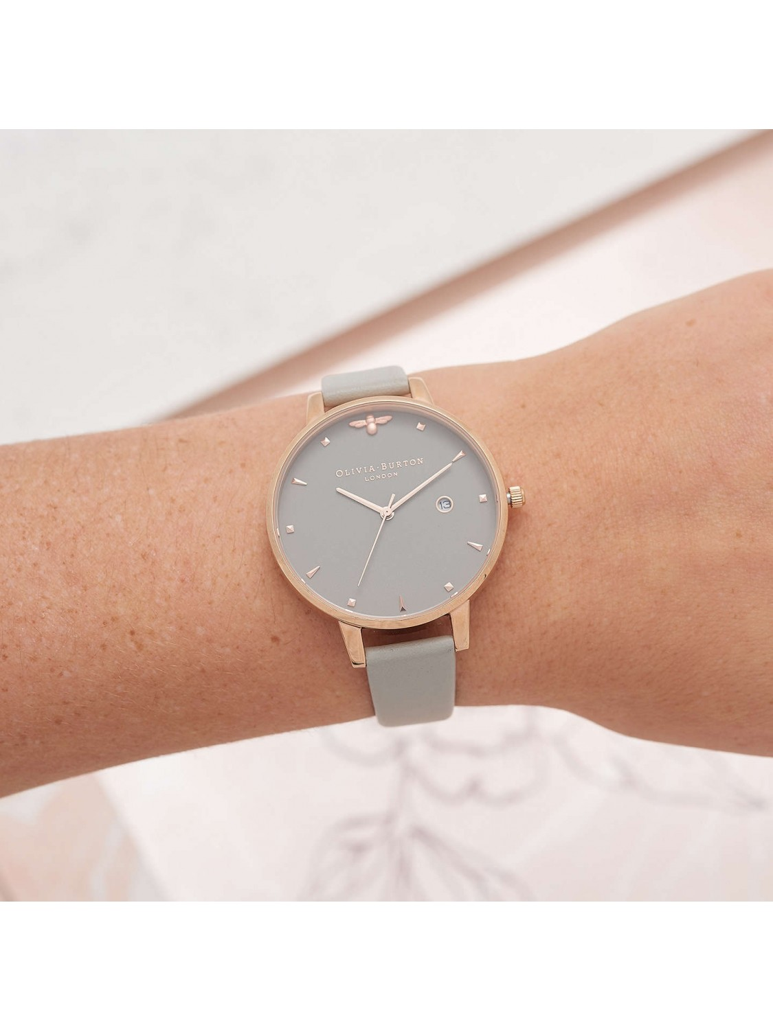 Olivia Burton Queen Bee Grey and Rose Gold-31