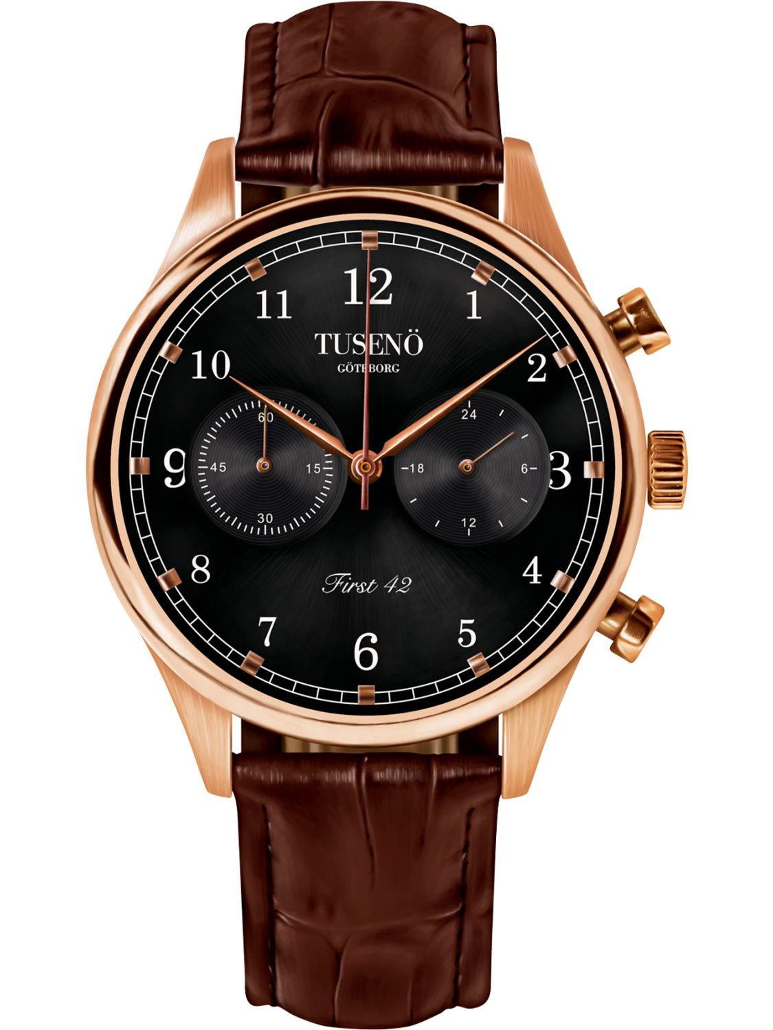 Tusenö FIRST 42 ROSE GOLD/BLACK BROWN Alligator STRAP-323