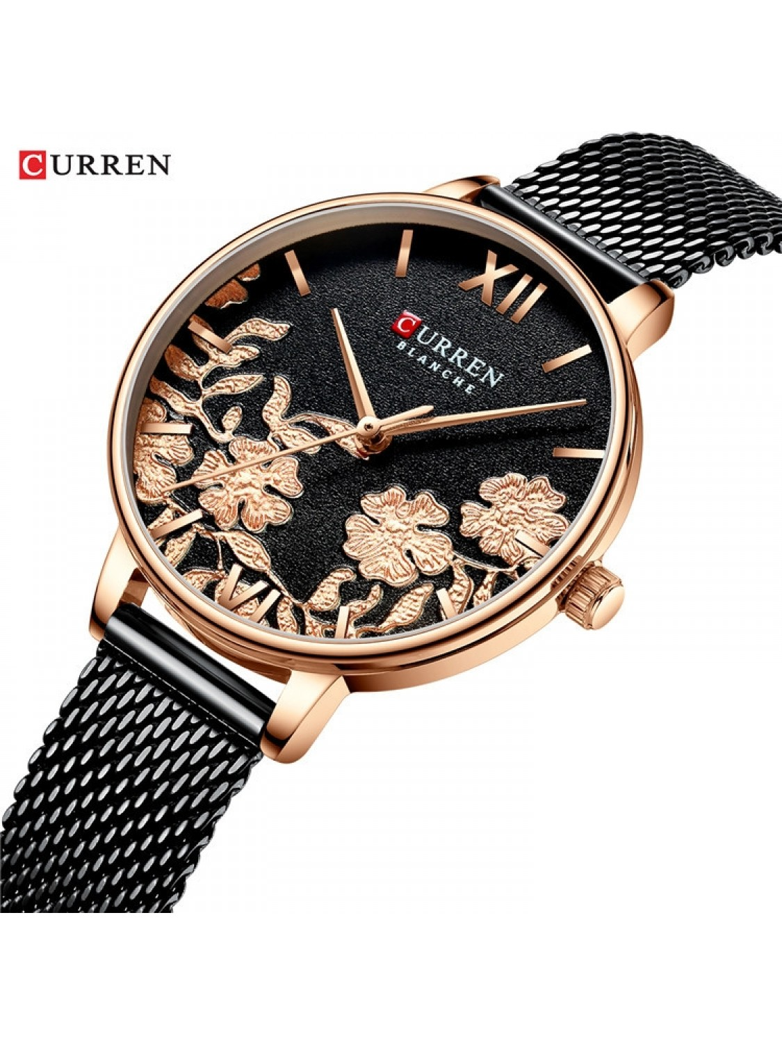 Curren Ladies Mesh Black/Flower-088