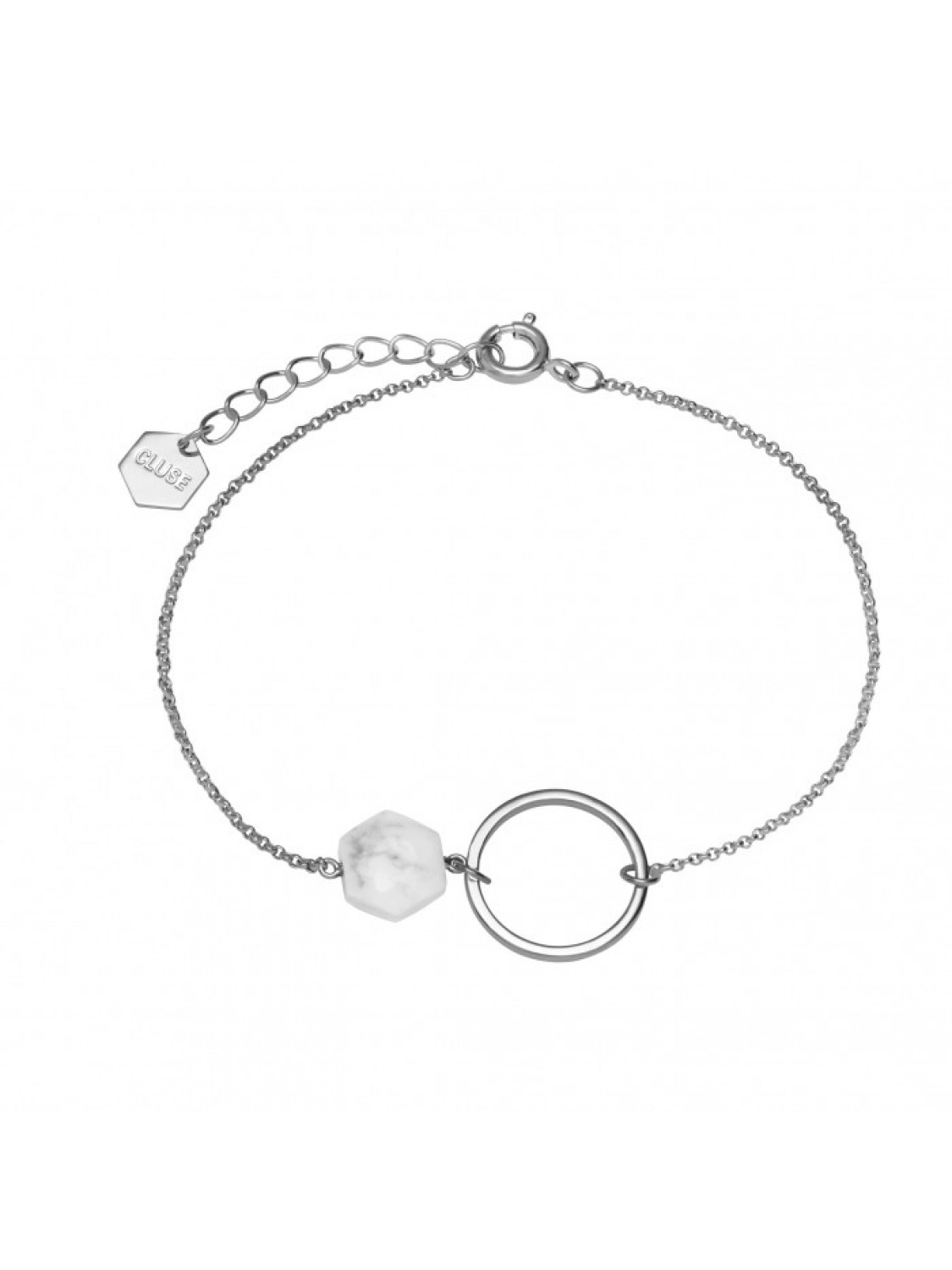 Cluse Idylle Silver Open Circle Marble Hexagons Chain Bracelet