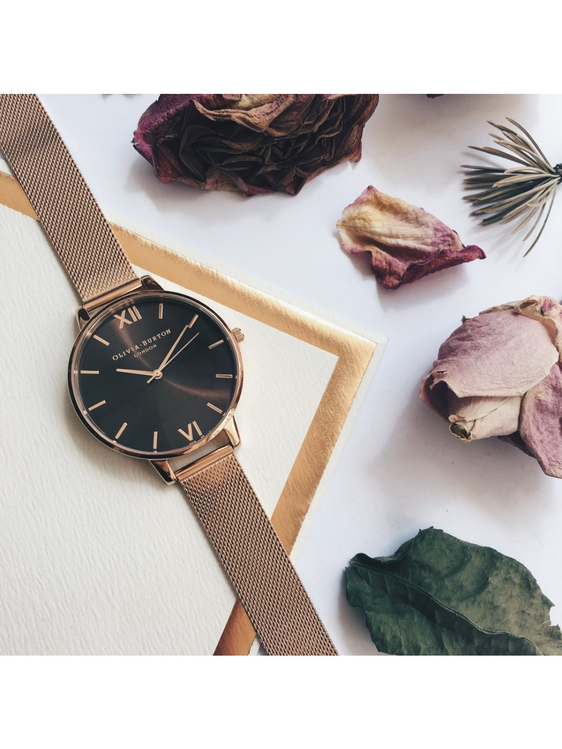 Olivia Burton Brown Dial Rose Gold Mesh-31