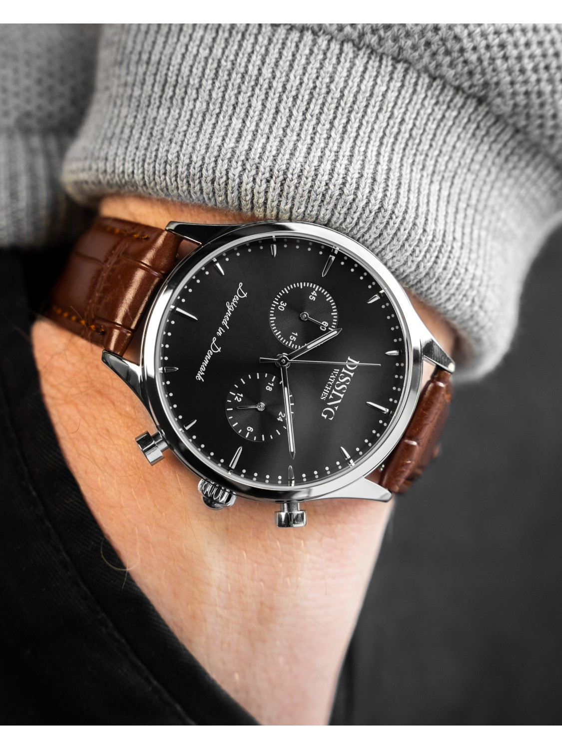 Dissing Brown Leather Silver/Black-04