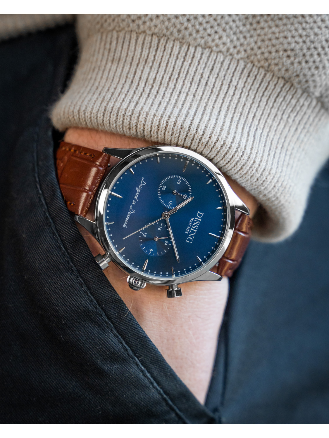 Dissing Brown Leather Silver/Blue-08