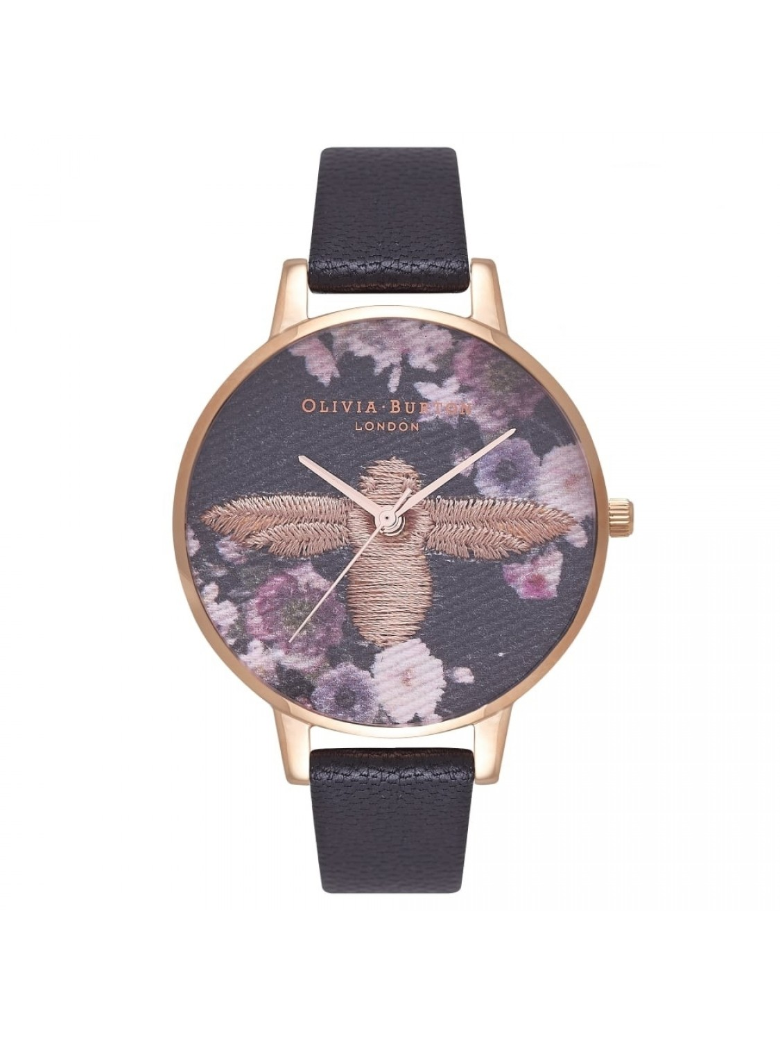 Olivia Burton Embroidered Dial Black and Rose Gold-33
