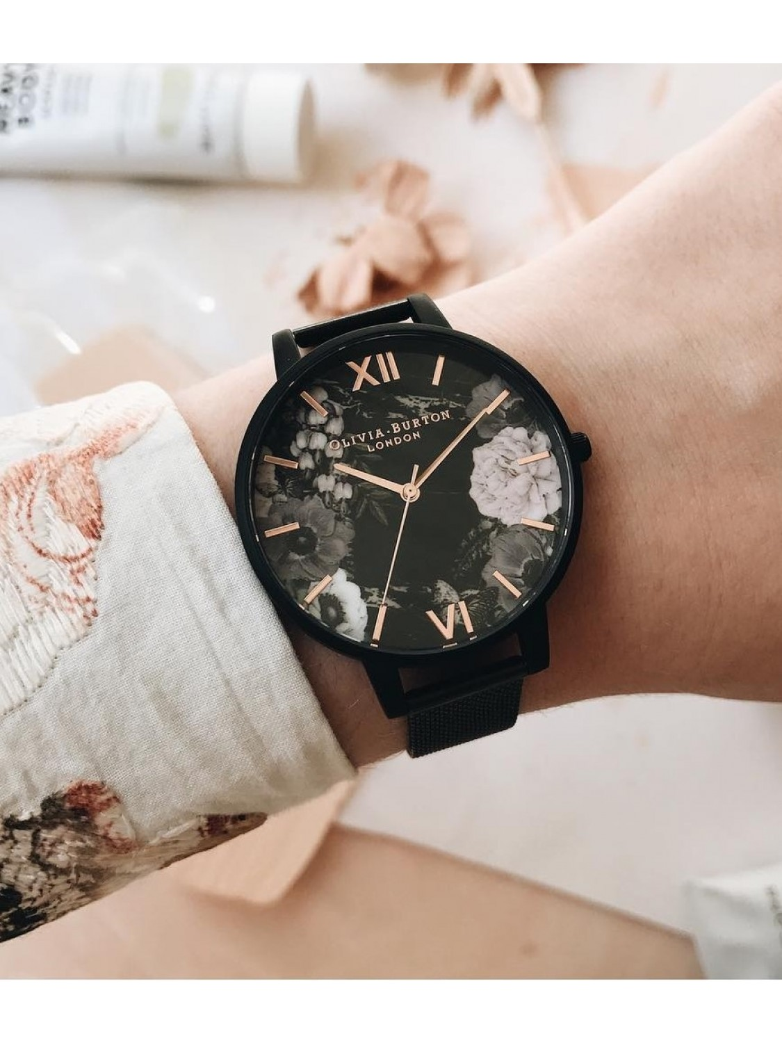 Olivia Burton After Dark Floral Matte Black Mesh-37