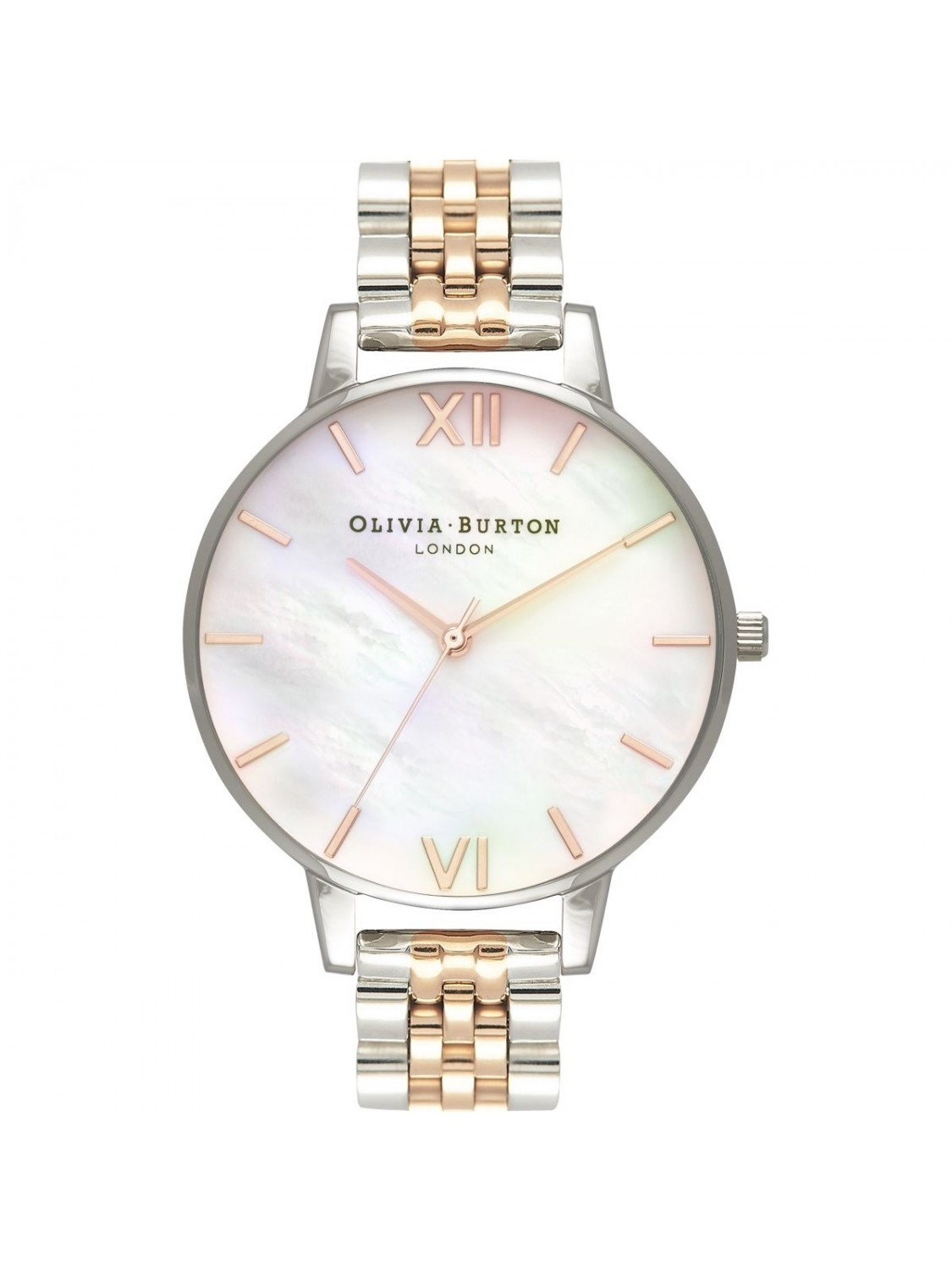 Olivia Burton Mother Of Pearl White Bracelet Rose Gold and Silver-319