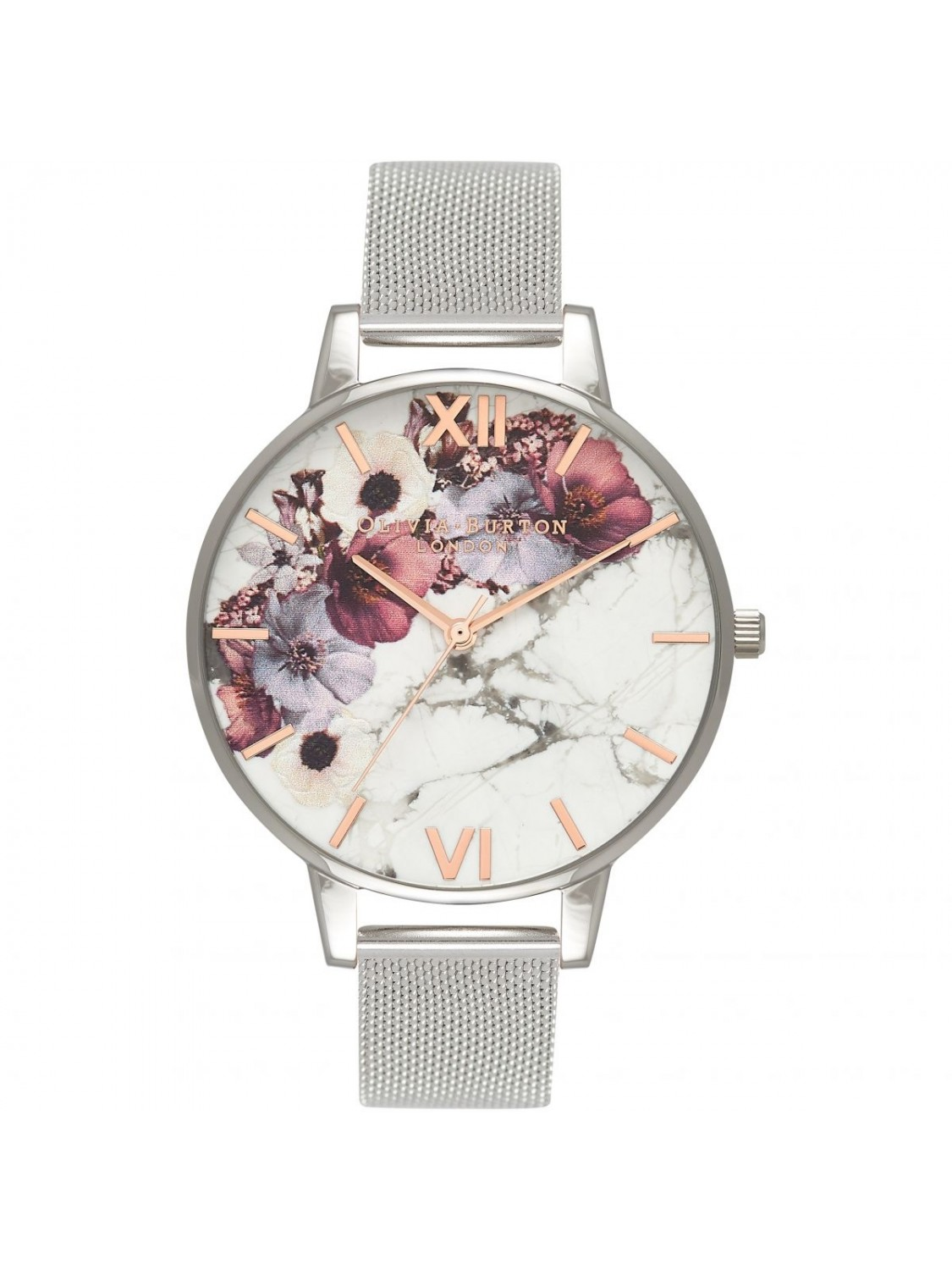 Olivia Burton Marble Floral Mesh Rose Gold and Silver-316