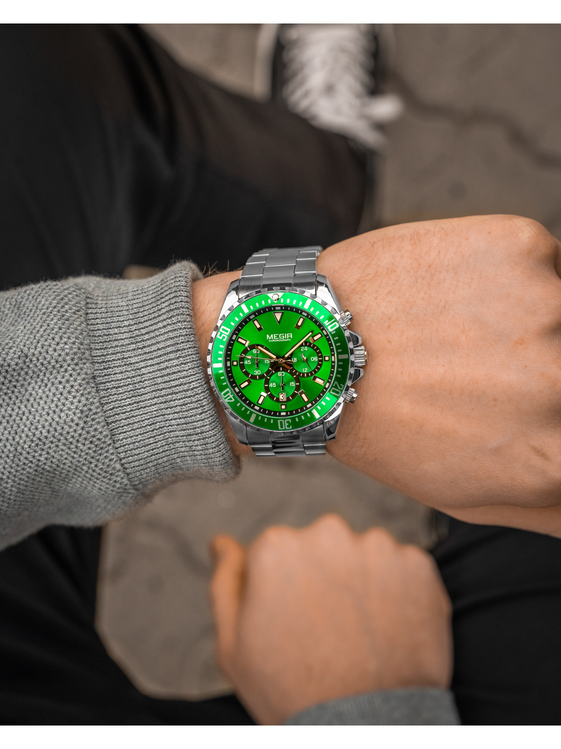 Megir Aviator Steel/Green-025