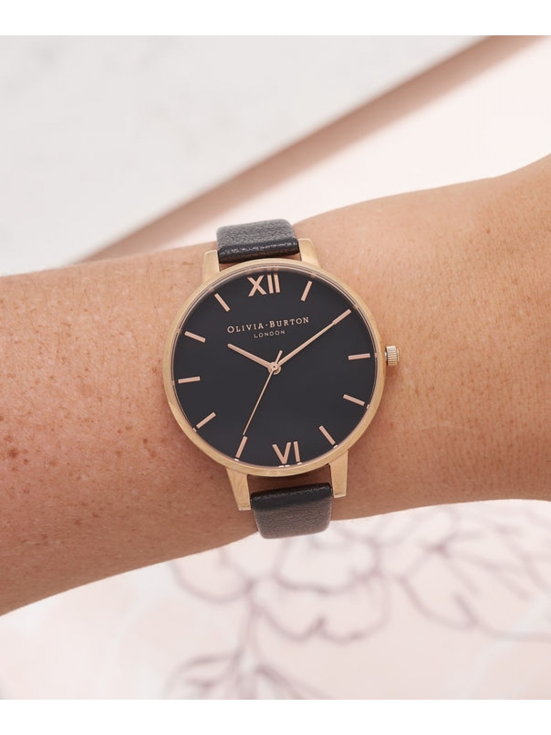 Olivia Burton Big Dial Black and Rose Gold-315
