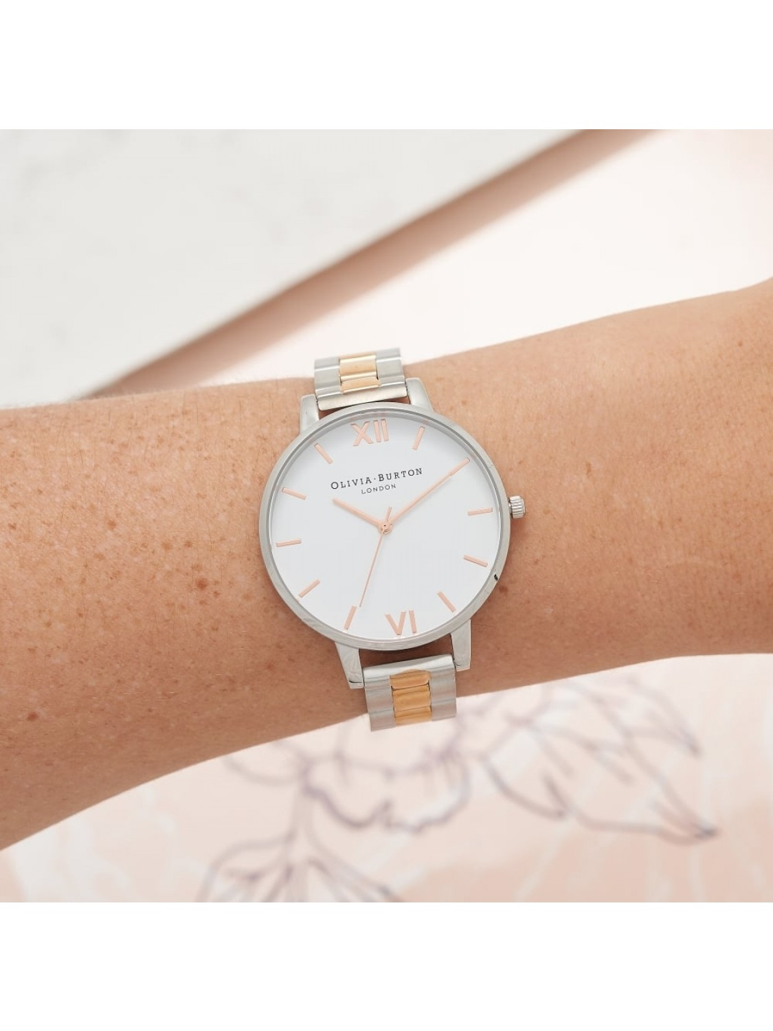 Olivia Burton White Dial Bracelet Silver and Rose Gold-37