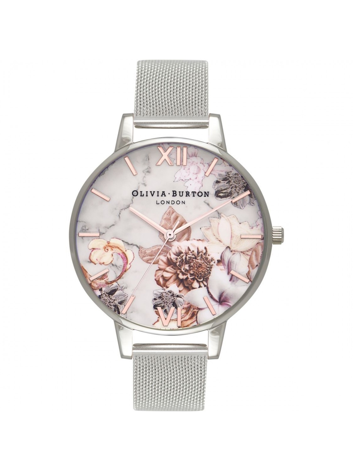 Olivia Burton Marble Floral Mesh Silver-320