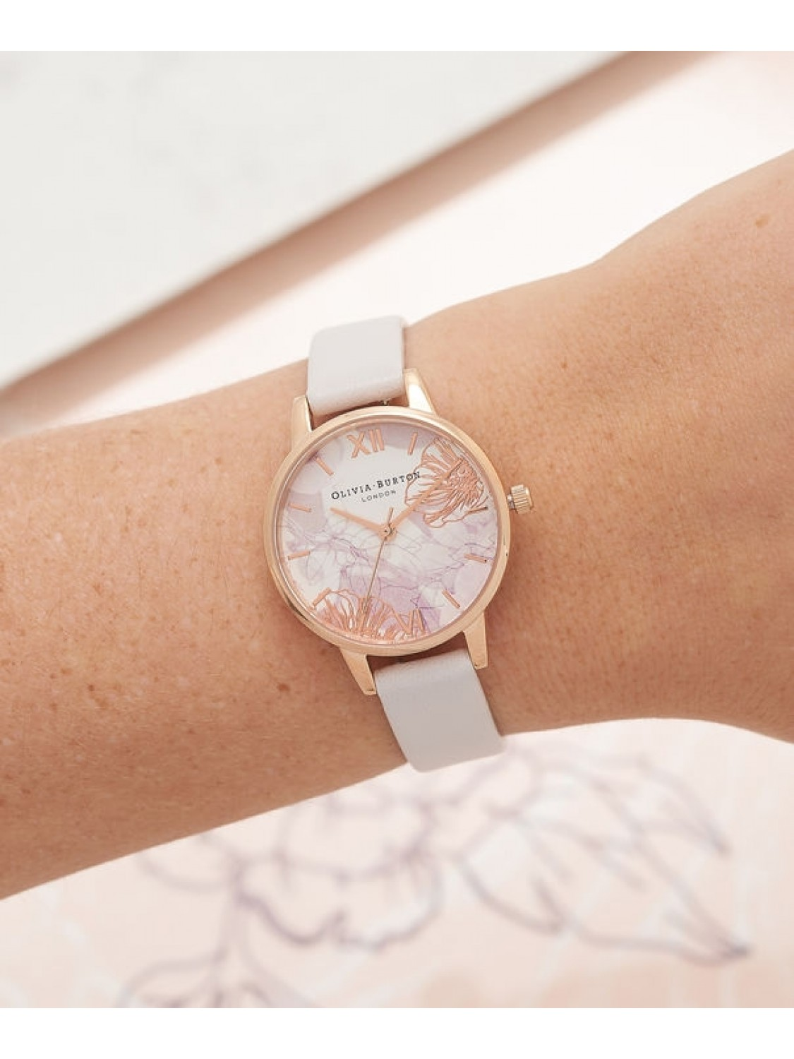 Olivia Burton Abstract Florals Blush and Rose Gold-325