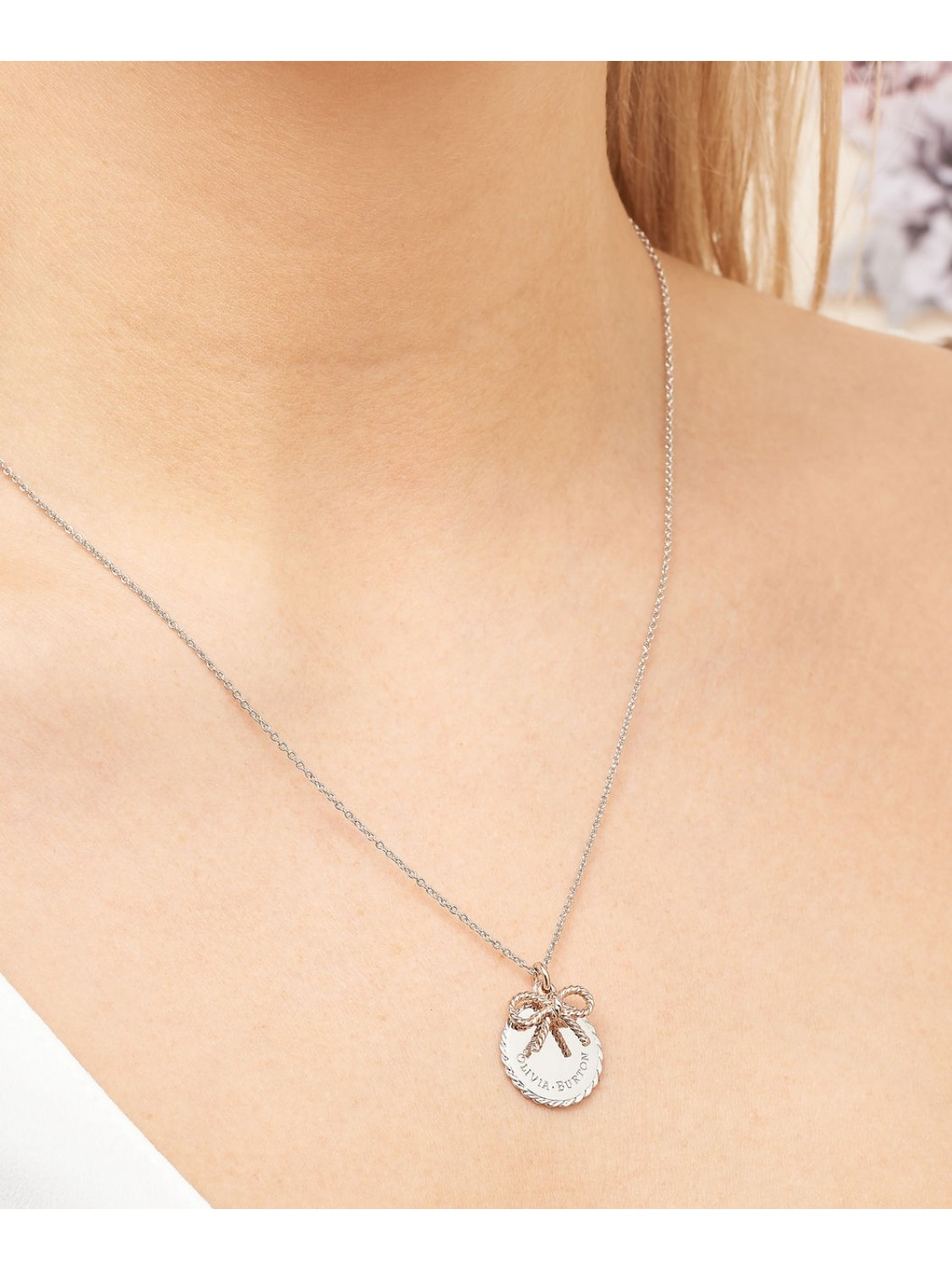 Olivia Burton Bee Coin Necklage Silver and Rose Gold-326