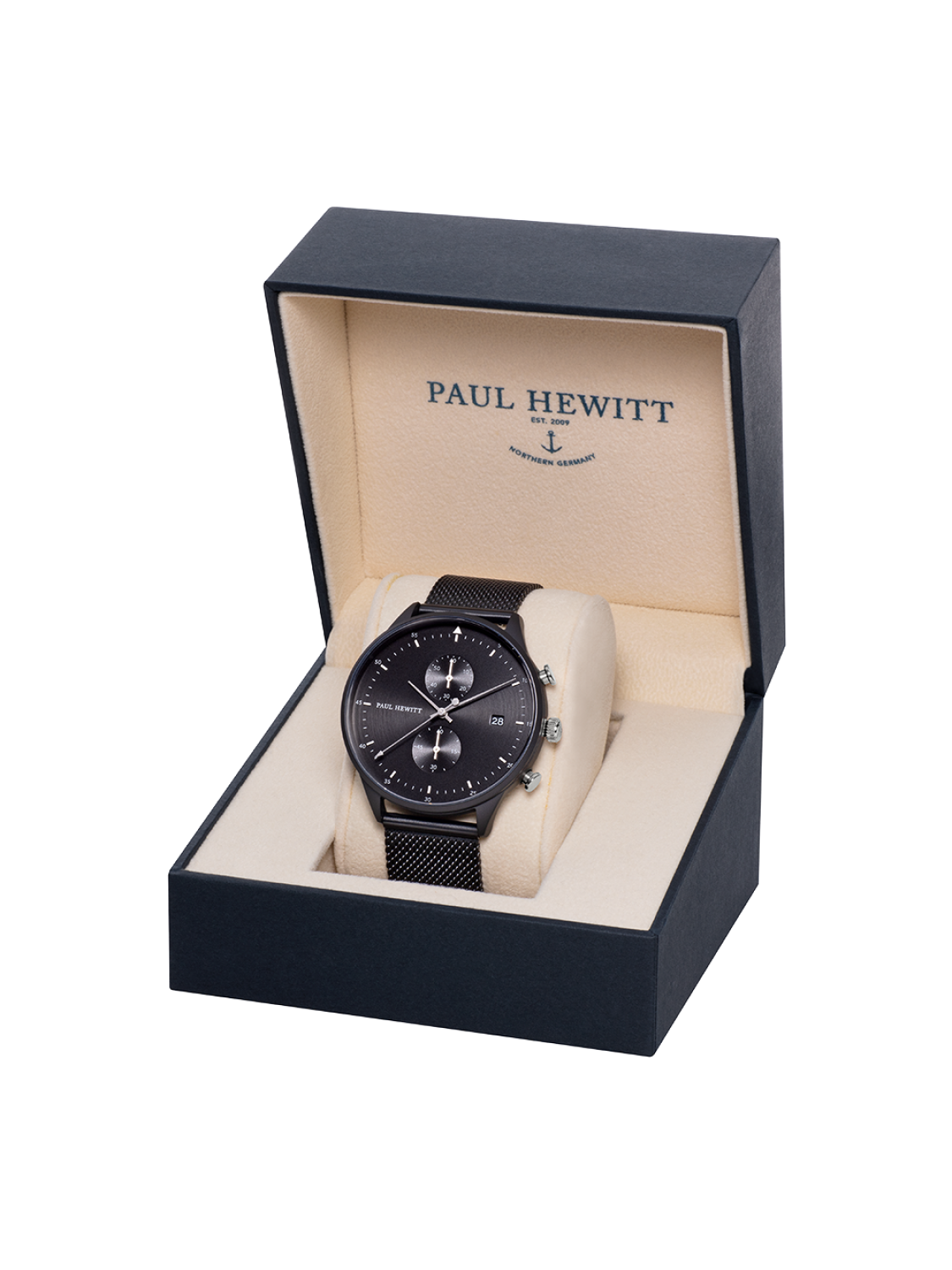 Paul Hewitt Chrono Line Black Sunray Stainless Steel Mesh-31