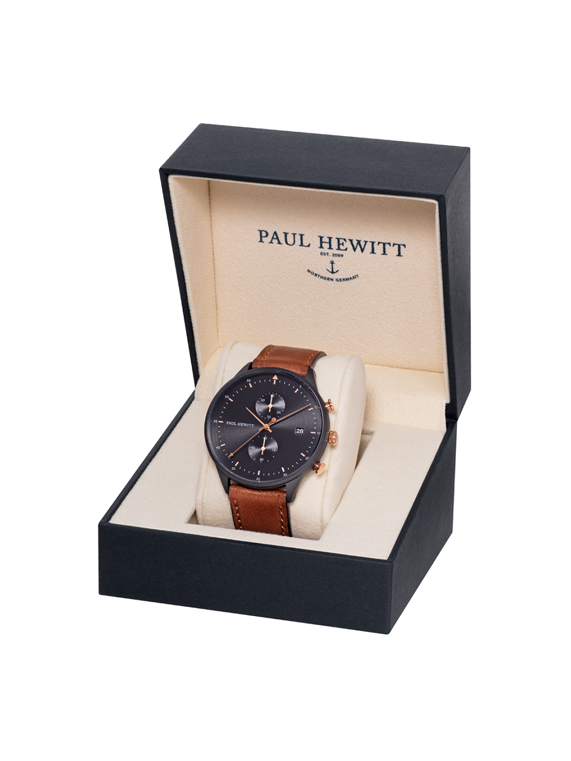 Paul Hewitt Chrono Line Black Sunray Rose Gold Brown Leather-311