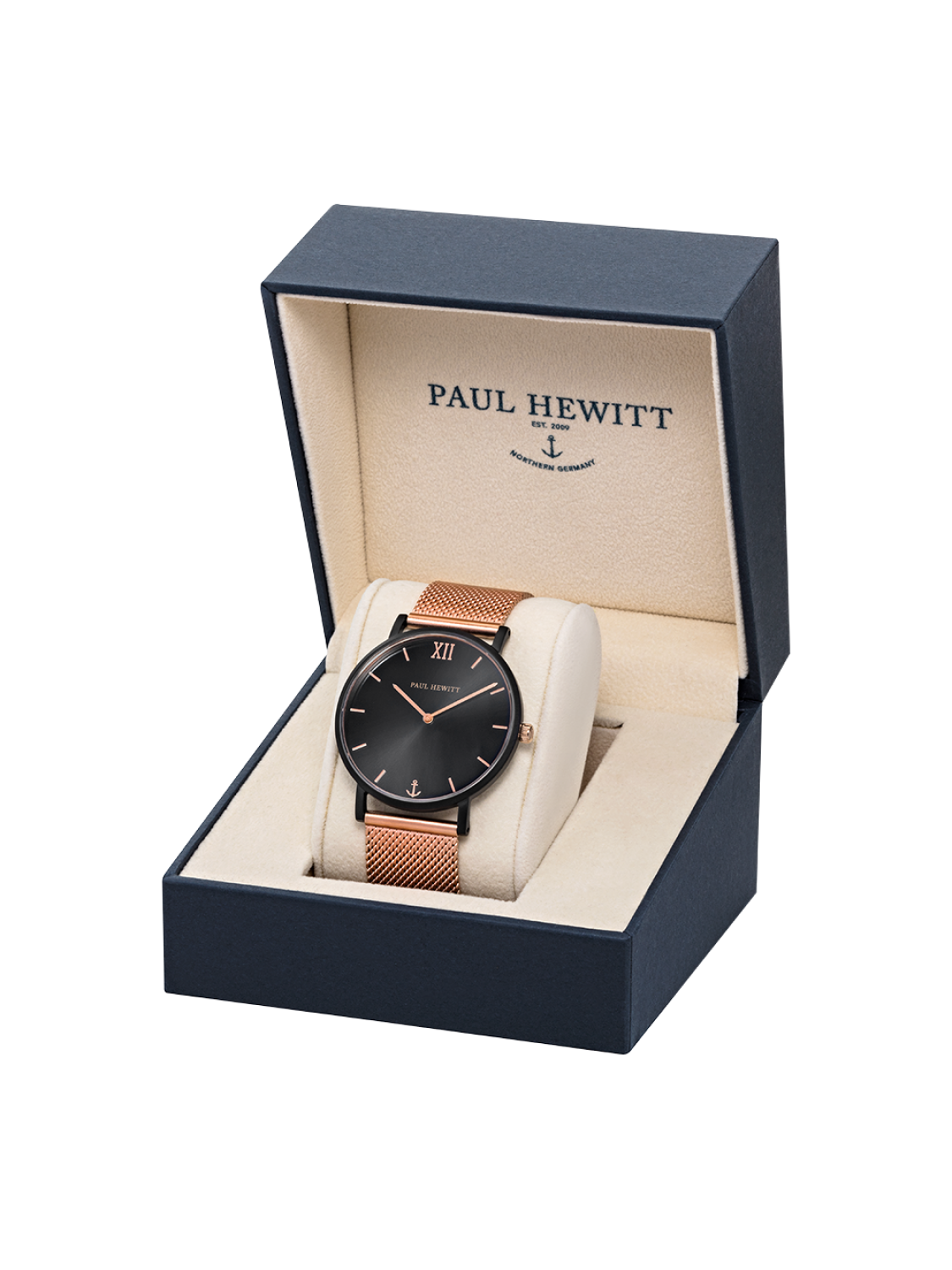 Paul Hewitt Sailor Line Black Sunray Mesh Strap Rose Gold-310