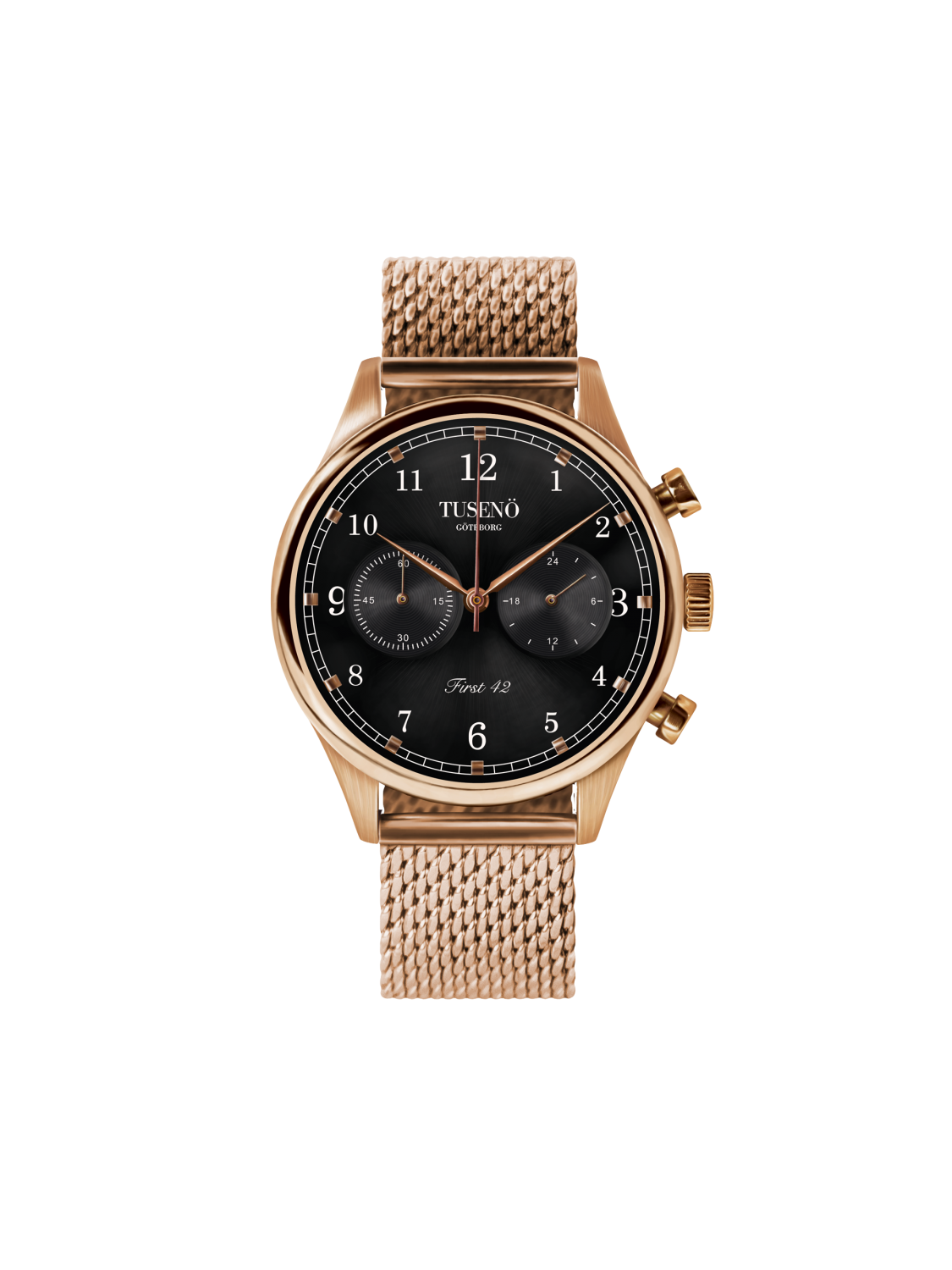 Tusenö FIRST 42 ROSE GOLD/BLACK MESH Lænke-361