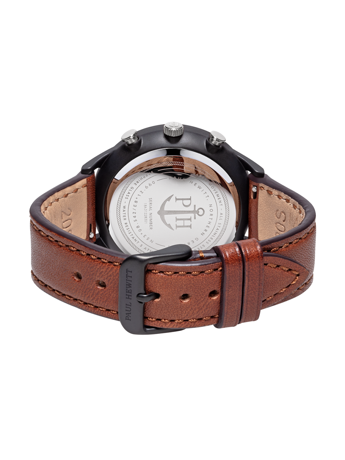 Paul Hewitt Chrono Line Black Sunray Stainless Steel Brown Leather-314