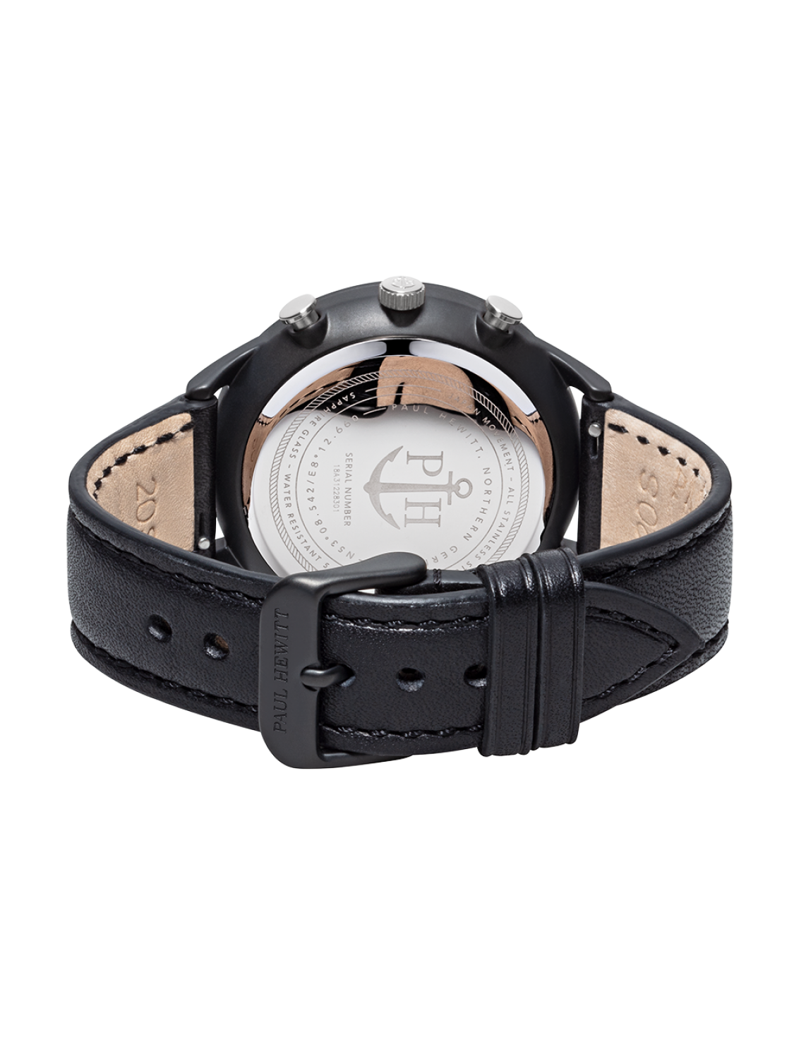 Paul Hewitt Chrono Line Black Sunray Stainless Steel Black Leather-311
