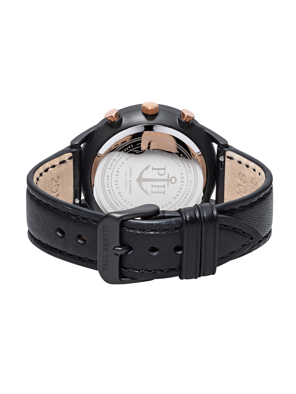 Paul Hewitt Chrono Line Black Sunray Rose Gold Leather-38