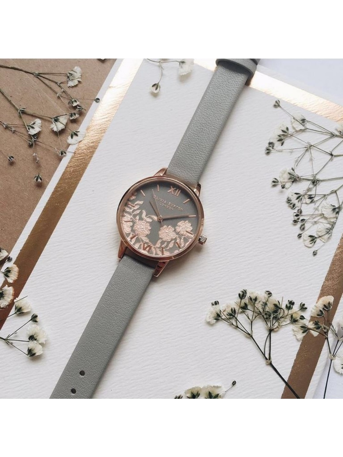 Olivia Burton Lace Detail Grey and Rose Gold-010