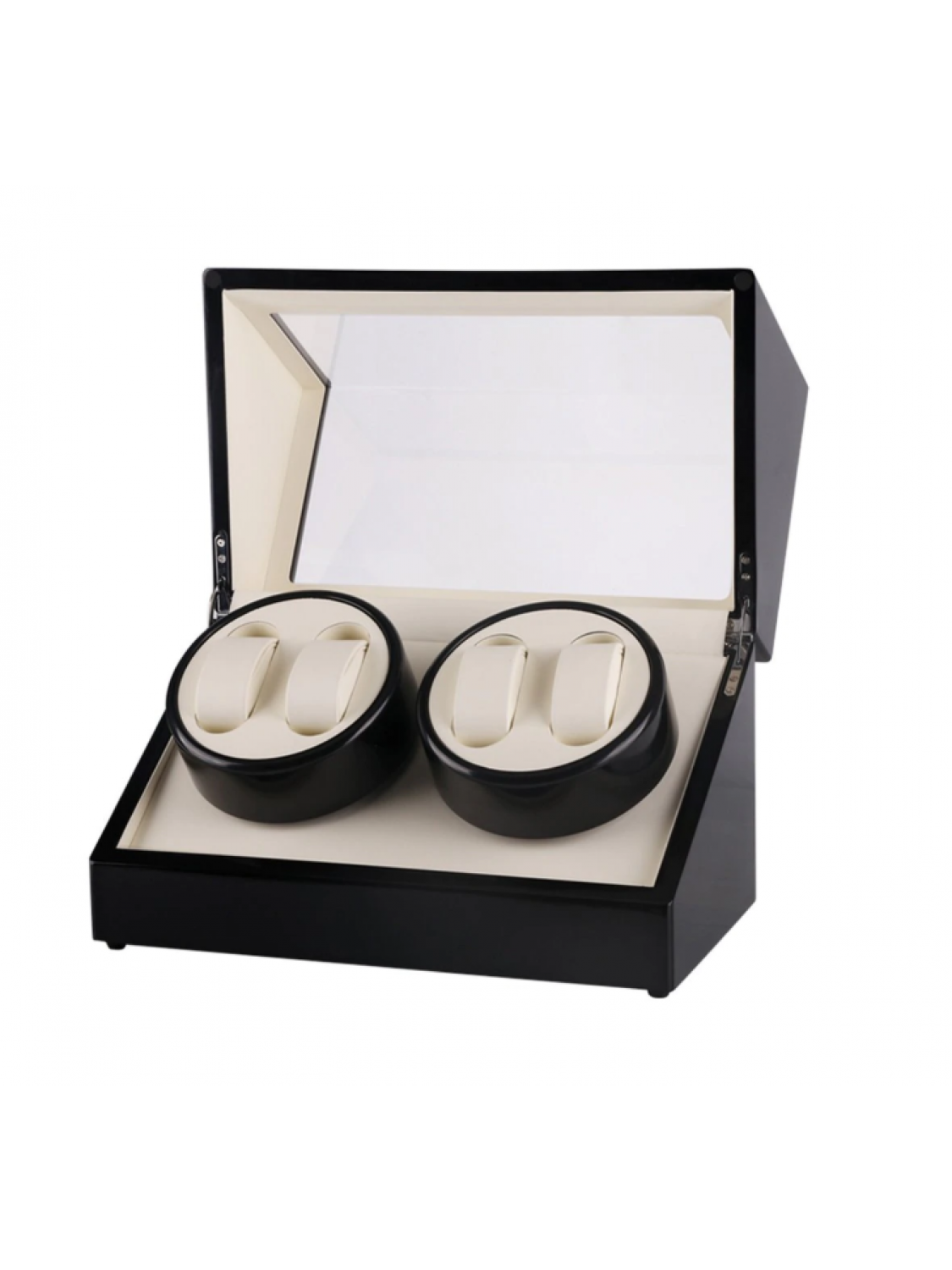 Watch winder i sort piano træ til 4 ure m. beige-315
